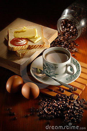 Free Coffee Bread And Egg Stock Image - 19273301