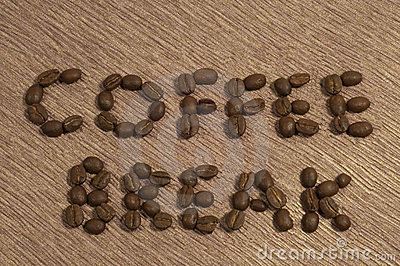 Coffee Break Written in coffee Beans