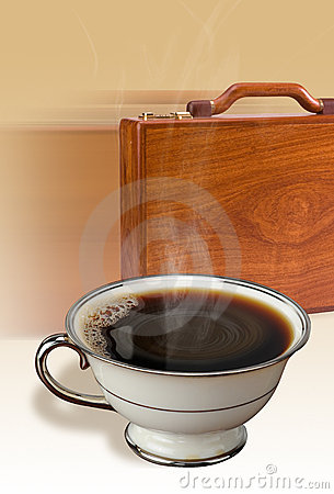 Coffee and briefcase