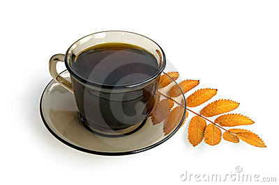 Coffee-brown cup with a mountain ash leaf