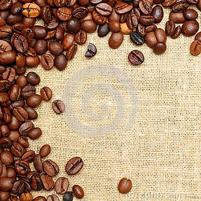 Coffee on burlap background