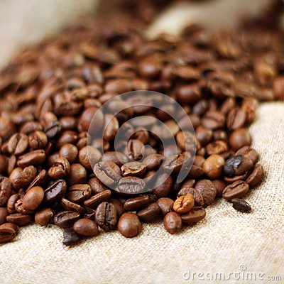 Coffee on burlap background
