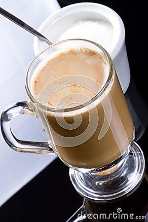 Coffee cappuccino in glassy mug