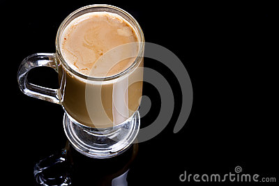 Coffee cappuccino in glassy mug