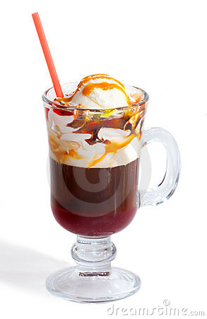 Coffee with caramel and ice cream