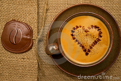 Coffee with chocolate heart