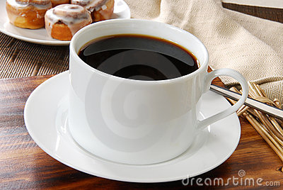 Coffee and cinnamon rolls