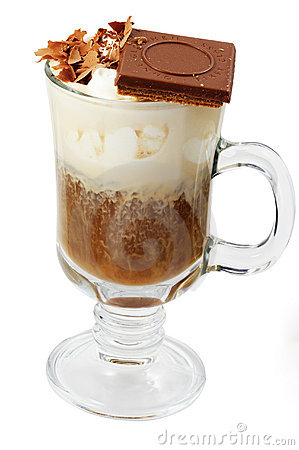 Coffee cocktail with ice-cream and chocolate