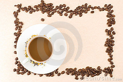 Coffee and coffee beans as frame