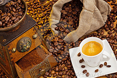 Of coffee. coffee beans and coffee grinder