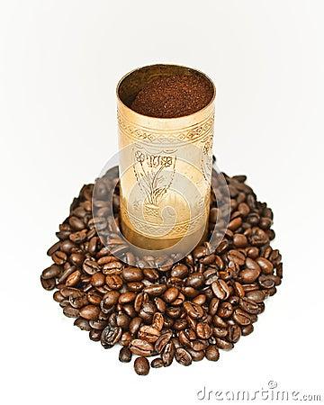 Coffee in coffee-grinder