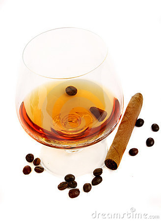 Coffee cognac and cigar