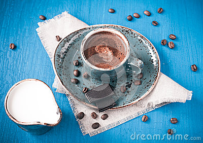 Coffee with cream and chocolate