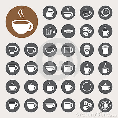 Free Coffee Cup And Tea Cup Icon Set. Royalty Free Stock Photography - 31508117