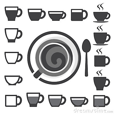 Free Coffee Cup And Tea Cup Icon Set.Illustration Stock Photo - 29585320