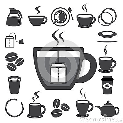 Free Coffee Cup And Tea Cup Icon Set.Illustration Royalty Free Stock Photo - 29597285