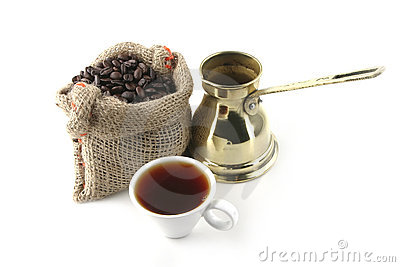 Coffee cup with bag and turkish