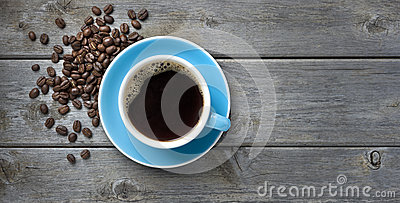 Coffee Cup Beans Background Stock Photo