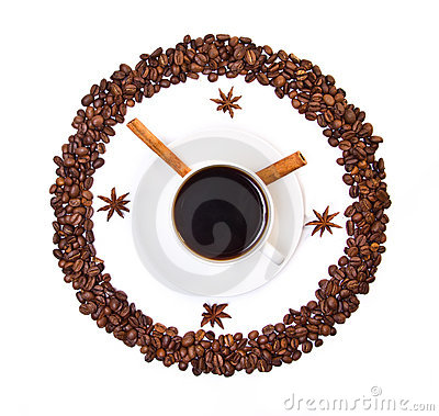 Coffee cup and beans conventionalized to clock