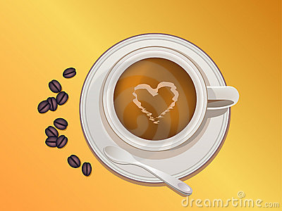 Coffee cup, beans and spoon