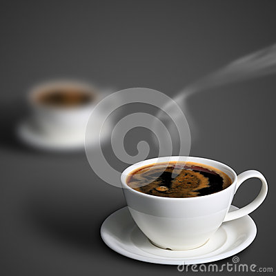 Coffee cup on blur gray background.