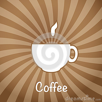 The coffee cup on a brown background.