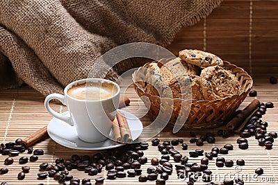 Coffee cup cinnamon coffee beans