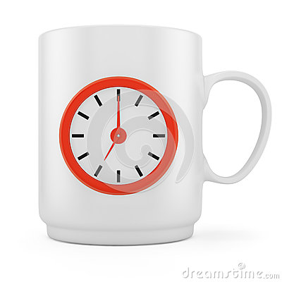 Coffee cup with clock