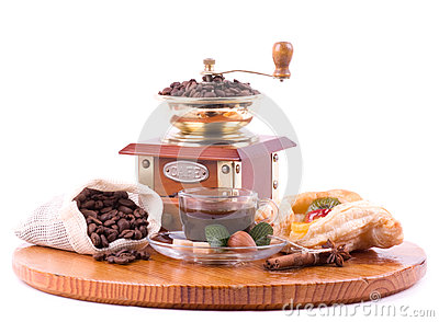 Coffee cup, coffee mill