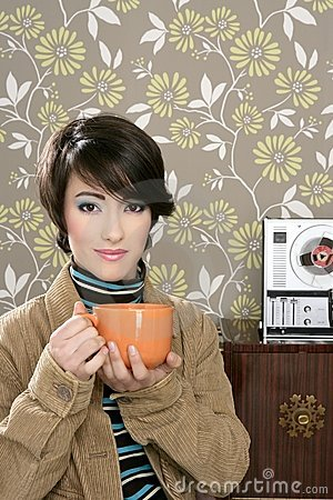 Coffee cup drinking retro fashion 60s woman