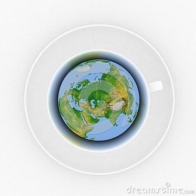 Coffee cup with a globe
