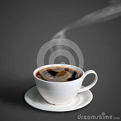 Coffee cup on gray background