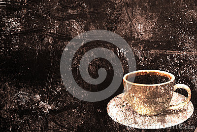 Coffee cup on a grunge background