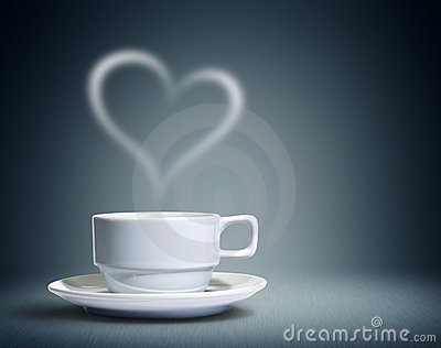 Coffee cup with heart shaped