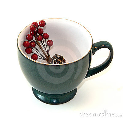 Coffee Cup With Holiday Floral Spray