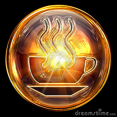 Coffee cup icon fire.