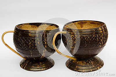 Coffee cup made ​​of coconut shell
