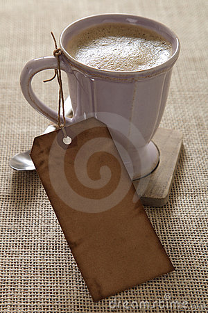 Coffee Cup With Paper Price Tag Royalty Free Stock Photos - Image: 9315178
