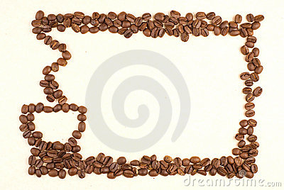 Coffee cup pattern make up by coffee bean