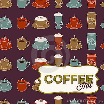 Coffee cup seamless pattern with tag