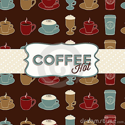 Coffee cup seamless pattern with tag. Vintage