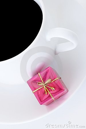 Coffee cup and small gift