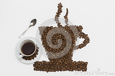 Coffee cup and steam made from beans, grain. on white b Stock Photo