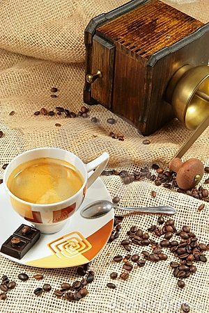 Free Coffee Cup Surrounded By Coffee Grains Stock Image - 4203501
