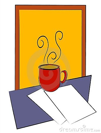 Coffee Cup on Table W/ Papers