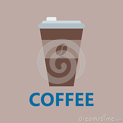Coffee cup take away thermo cup isolated disposable with logo portable beverage vending vector illustration. Vector Illustration