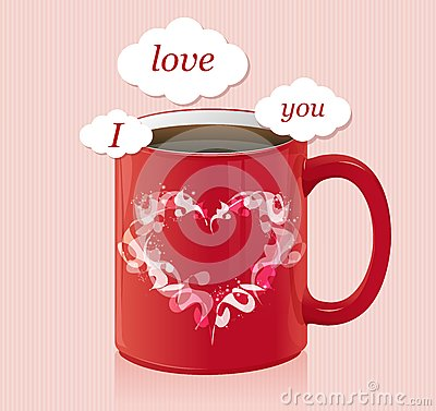 Coffee cup with text area Valentines day card