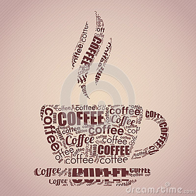 Coffee cup typography words cloud