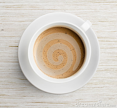 Free Coffee Cup With Foam On Wooden Table Top View Royalty Free Stock Photo - 34464325