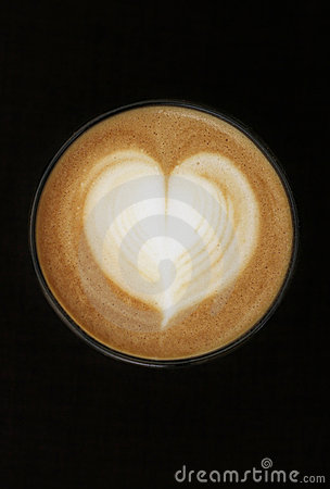 Free Coffee Cup With Milk And Heart Shape Royalty Free Stock Images - 22510879